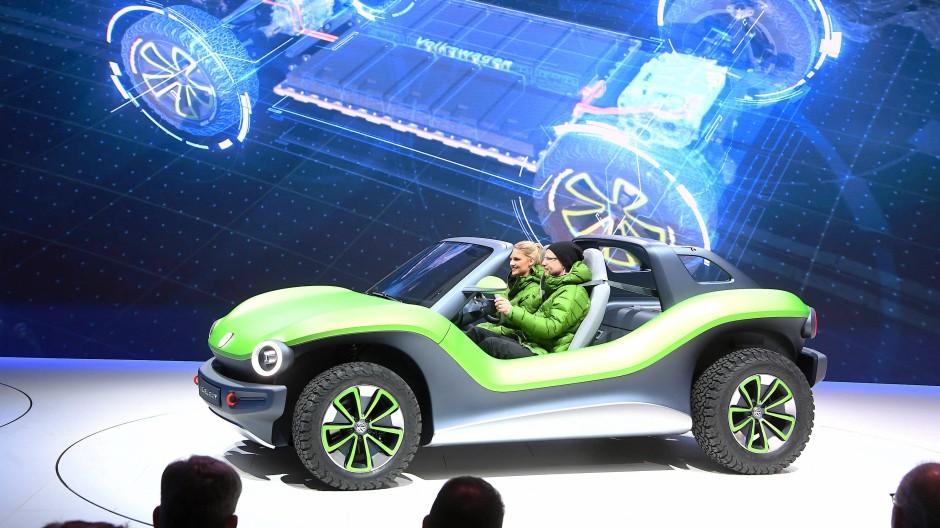 Auf dem Genfer Autosalon wurde der elektrische VW ID. Buggy Concept präsentiert.