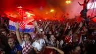 Die Kroaten feierten die Rückkehr ihrer Nationalmannschaft nach dem verlorenen Finale der Fußballweltmeisterschaft.