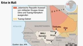 Karte / Gao / Timbuktu / Krise in Mali