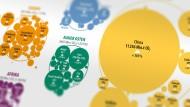 Weltkarte einmal anders: Welches Land wie stark die Luft verschmutzt