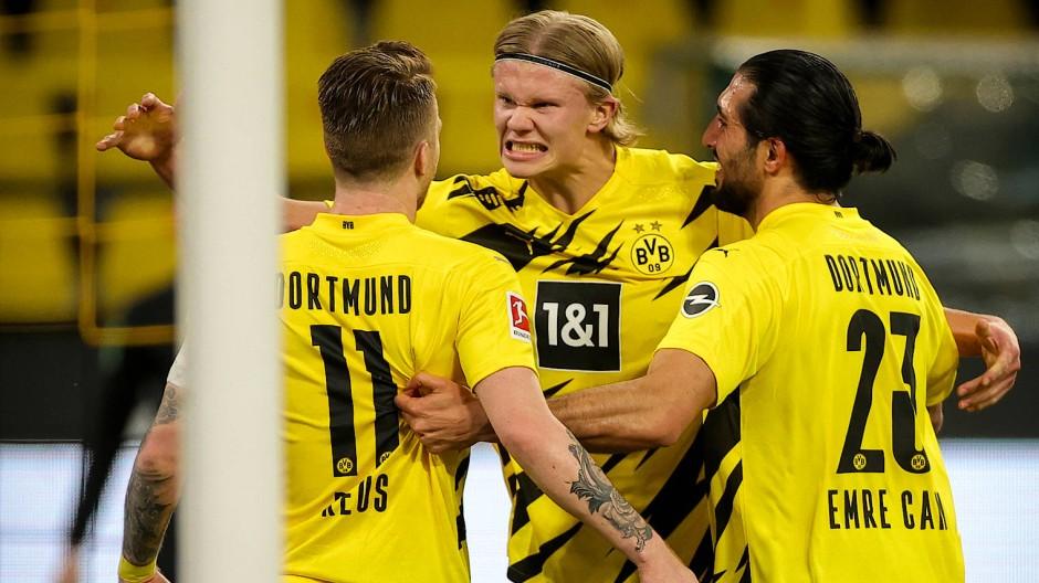 Haaland energisch, Reus und Can glücklich: BVB-Trio nach dem umstrittenen 1:0.