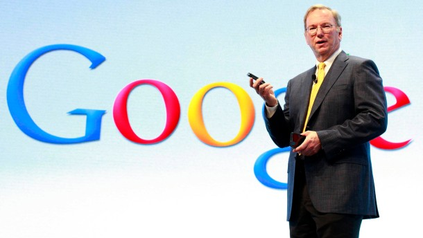 Google Chairman Eric Schmidt speaks at a Motorola phone launch event in New York