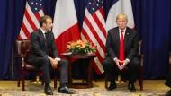 Der amerikanische Präsident Donald Trump (rechts) empfing seinen französische Amtskollegen Emmanuel Macron zuletzt im September 2018 in New York.