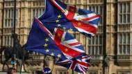 Flaggen bei einer Demonstration gegen den Brexit im März.