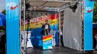 Björn Höcke spricht bei einer Wahlkampfveranstaltung in Cottbus.