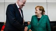 Horst Seehofer (CSU) und Angela Merkel (CDU) während der Fraktionssitzung im September.