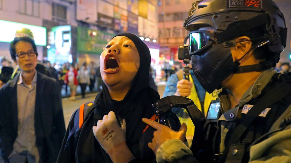 Festnahme bei Protesten in Hongkong