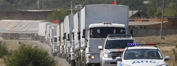 Kommt ins Rollen: Der Hilfskonvoi an der russisch-ukrainischen Grenze