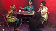 Lebendige Menschen als Gemälde