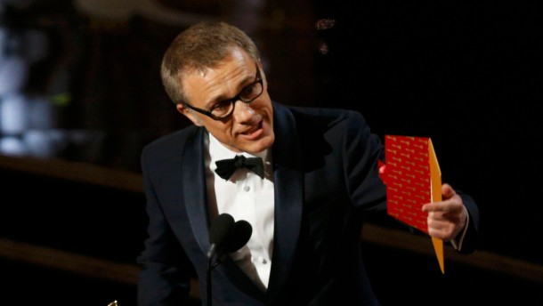 "Austrian-German actor Christoph Waltz accepts the Oscar for best supporting actor for his role in the film ""Django Unchained"" at the 85th Academy Awards in Hollywood"