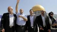 Arabisch-israelische Oppositionspolitiker wie Ayman Odeh (Mitte) auf dem Tempelberg in Jerusalem