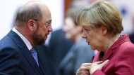 Treffen am Sonntag beim TV-Duell aufeinander: Martin Schulz und Angela Merkel