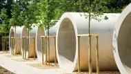 Im Rohrbau: Bald können Besucher Übernachtungen in runden Zweibettzimmern in Ronneburg buchen.