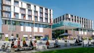 Das Gebäude des Neuen Klinikums in Eppendorf. In der Klinik wurde fünf Wochen lang ein Ebola-Patient erfolgreich behandelt