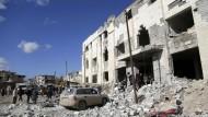 Zerstörte Gebäude in der syrischen Stadt Maaret al-Numan.