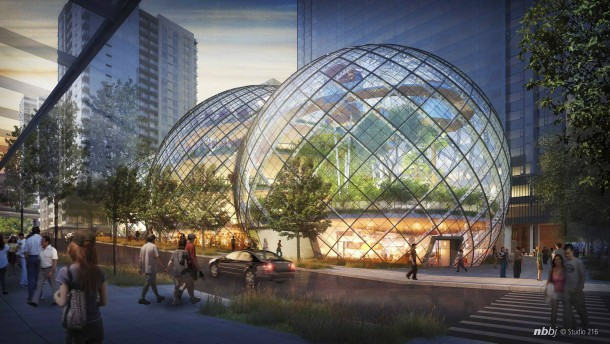 Artist's rendering of the proposed Amazon corporate headquarters in Seattle