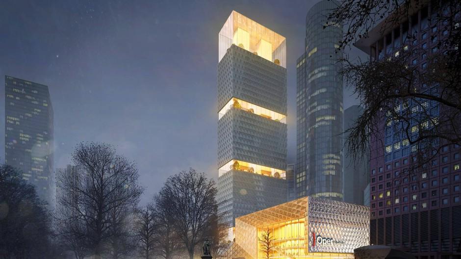 So stellt sich Kulturdezernentin Ina Hartwig den Neubau der Oper vor: Am Rand der Wallanlage, auf dem heutigen Gelände der Frankfurter Sparkasse.