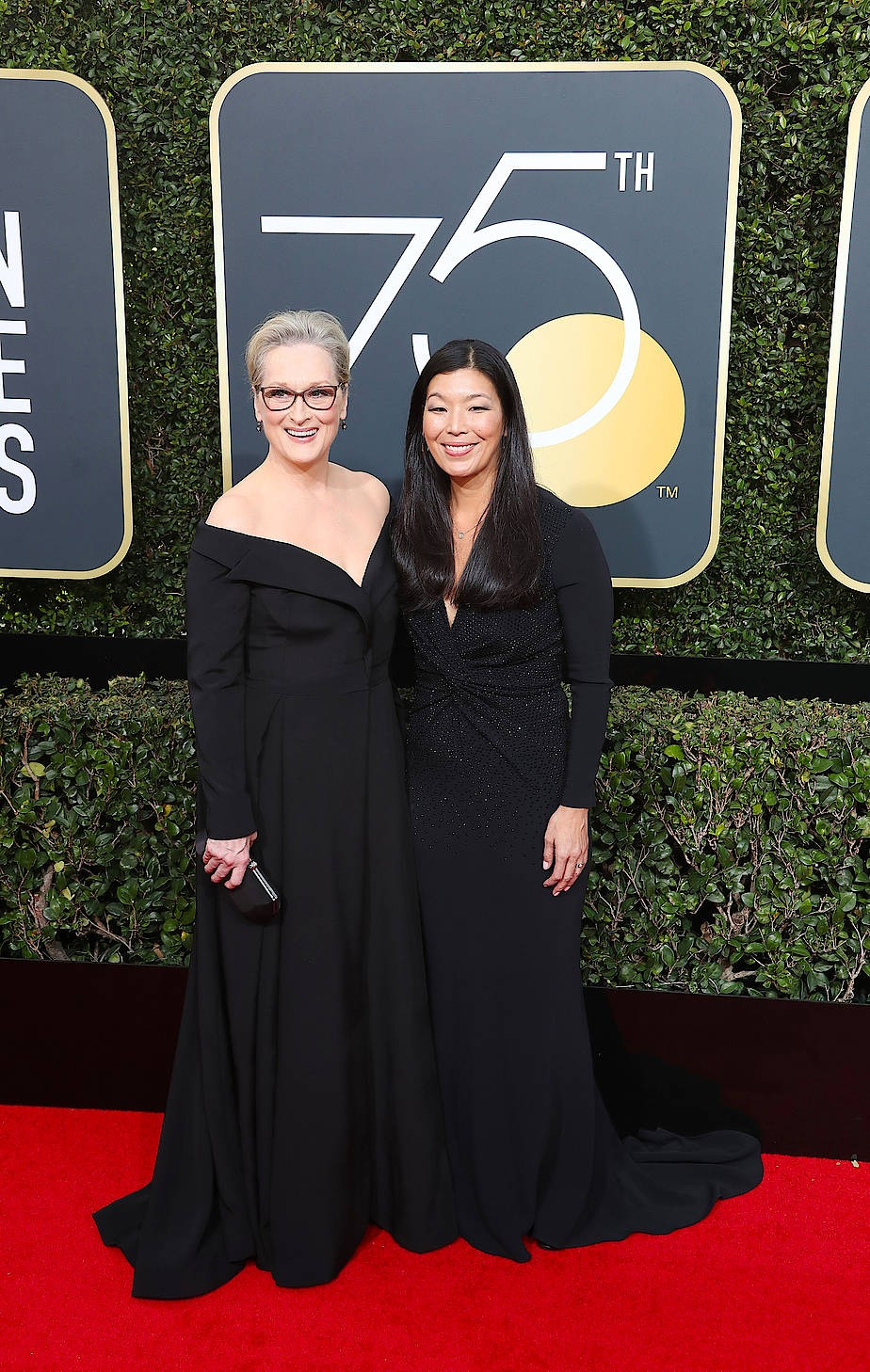 Schauspielerin Meryl Streep erschien in Begleitung von Ai-Jen Poo, der Vorsitzenden der amerikanischen Vereinigung der Hausangestellten.