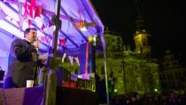 Der Vorsitzende des Zentralrates der Muslime in Deutschland, Aiman Mazyek, am vergangenen Montag bei einer Protest-Kundgebung gegen die Pegida-Bewegung auf dem Theaterplatz in Dresden
