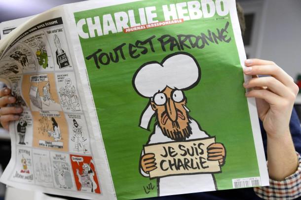 """Alles is vergeven, het zegt op de titelpagina van de eerste editie van """"Charlie Hebdo"""" na de aanslagen. De overname van de cartoon is natuurlijk niet goed te praten in Turkije."""