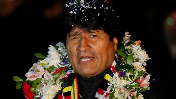 Bolivia's President Evo Morales is pictured after his arrival at the El Alto airport on the outskirts of La Paz