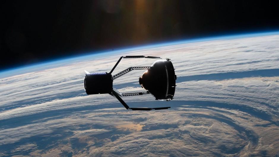 Eine ANimation des Geräts, dass Weltraum-Müll abschleppen soll.