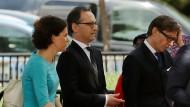 Außenminister Heiko Maas (Mitte) verlässt nach dem Gespräch mit dem amerikanischen Sicherheitsberater John Bolton das Weiße Haus in Washington.