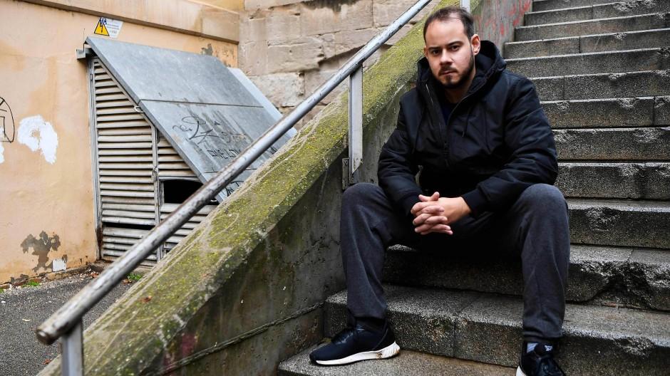 Der spanische Rapper Pablo Hasél am 12. Februar 2021 in Lleida