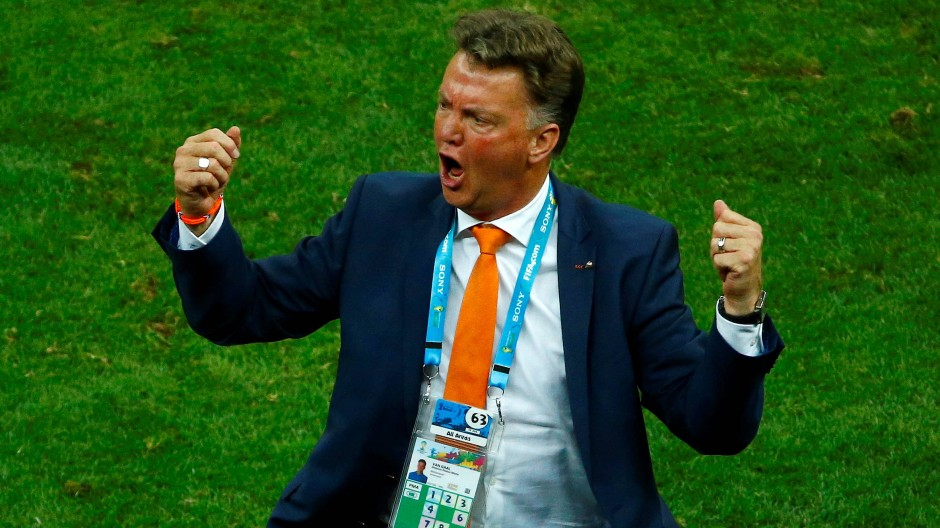 Da jubelte er zuletzt für die Holländer: Louis van Gaal bei der WM 2014 in Brasilien