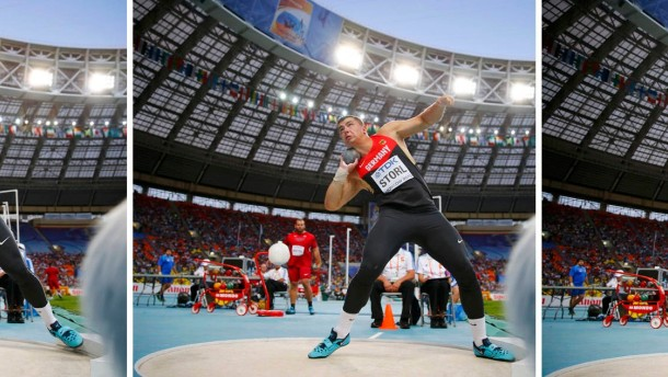 Combo photo of Storl of Germany competing during men's shot put final at World Athletics Championships in Moscow