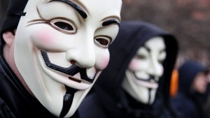 Protestors wearing Guy Fawkes masks participate in demonstration against ACTA in Berlin