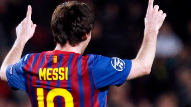 Barcelona's Lionel Messi celebrates after scoring his fifth goal against Bayer Leverkusen during their Champions League soccer match in Barcelona