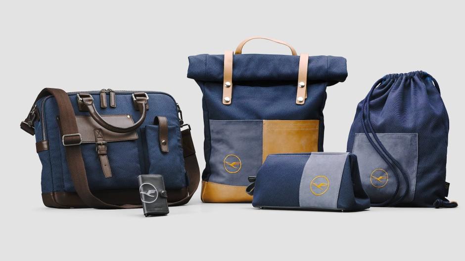 Aus hochwertigen Materialien aber vermutlich hat schon einmal jemand darauf gesessen: Die Taschen der Lufthansa Upcycing Collection.