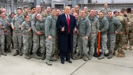 Präsident Trump beim Besuch des Stützpunkts der amerikanischen Luftwaffe in Ramstein im Dezember 2018