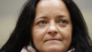 Beate Zschäpe im Gerichtssaal des Oberlandesgerichts in München, kurz vor dem Plädoyer der Bundesanwaltschaft