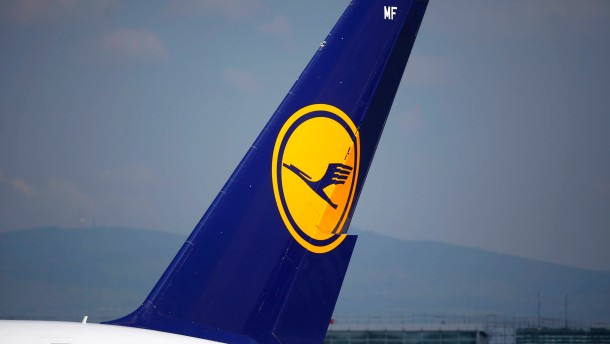 The tail of an Airbus A380-800 aircraft belonging to Lufthansa at Fraport airport in Frankfurt