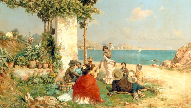G.Gomez y Gil, Zigeuner am Strand - G.Gomez y Gil / Gypsies by the Beach -