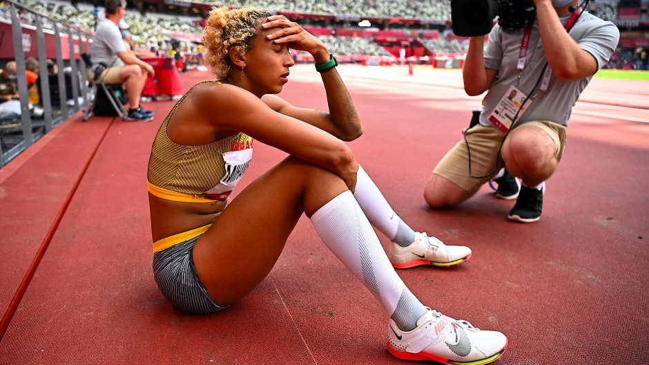 Olympiasiegerin Malaika Mihambo während des Weitsprungfinals in Tokio