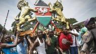 Anhänger von Odinga bei der Vereidigungs-Zeremonie in Nairobi.
