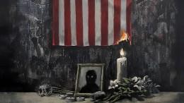 Banksy setzt amerikanische Flagge in Brand