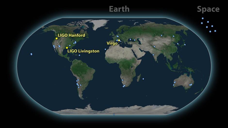 Die drei Gravitationswellen-Observatorium des Ligo-Virgo-Konsortiums befinden sich in Amerika und Italien.