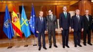 EU-Ratspräsident Donald Tusk, Spaniens Ministerpräsident Mariano Rajoy, Spaniens König Felipe, EU-Kommissionspräsident Jean-Claude Juncker und EU-Parlamentspräsident Antonio Tajani am 20. Oktober 2017 in Oviedo