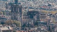 Opfer der Flammen: Die Notre-Dame-Kathedrale nach dem Feuer.