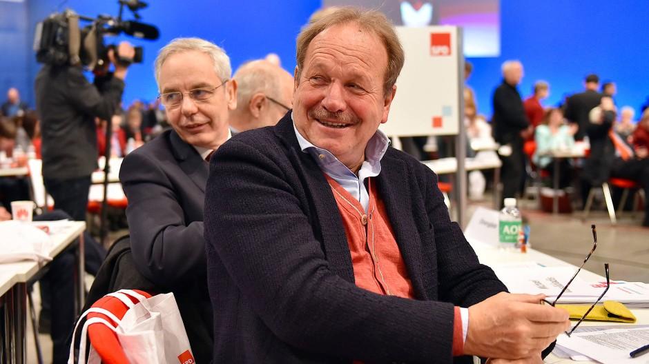 Umworbene Gewerkschafter: Michael Vassiliadis und Frank Bsirske auf dem Bundesparteitag der SPD.