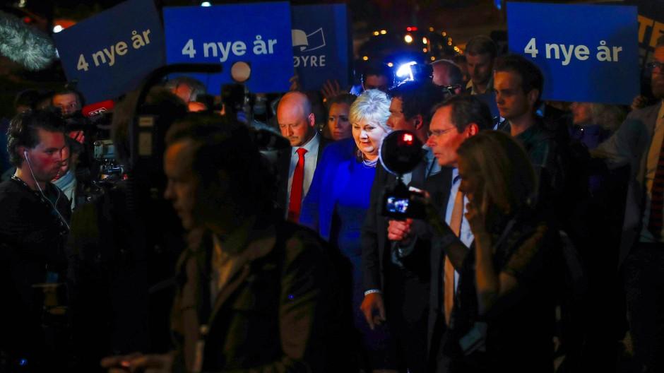 Regierungschefin Erna Solberg gewinnt Wahl in Norwegen
