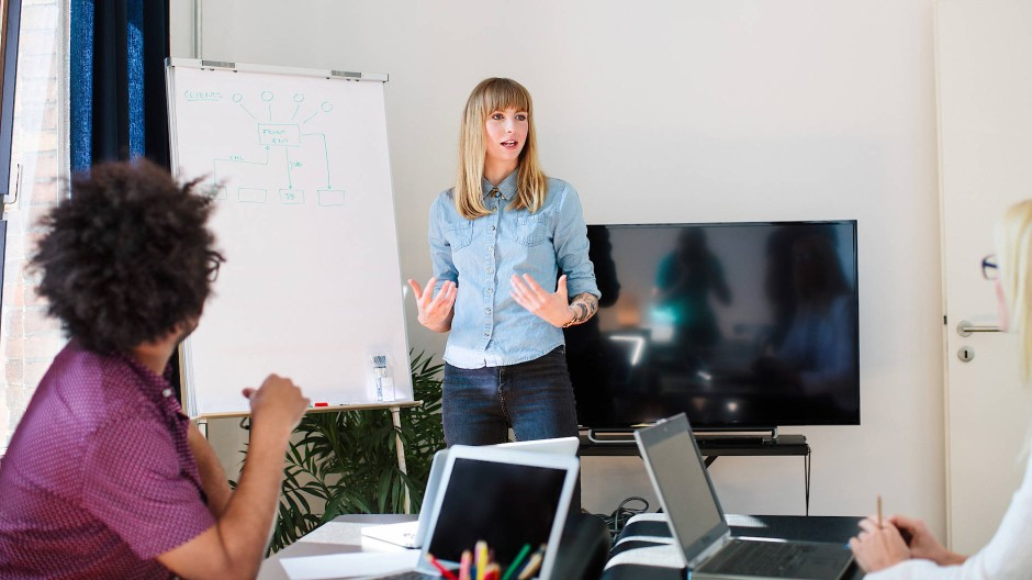Kurzpräsentationen mit wenig Vorbereitung gehören oft zum Auswahlverfahren.