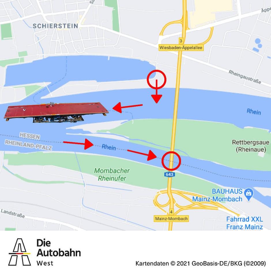 Letztes Brückenbauteil: Die Fertigstellung der Schiersteiner Brücke schreitet voran