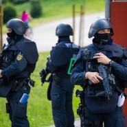 Beamte der Bereitschaftspolizei in Oppenau im Schwarzwald