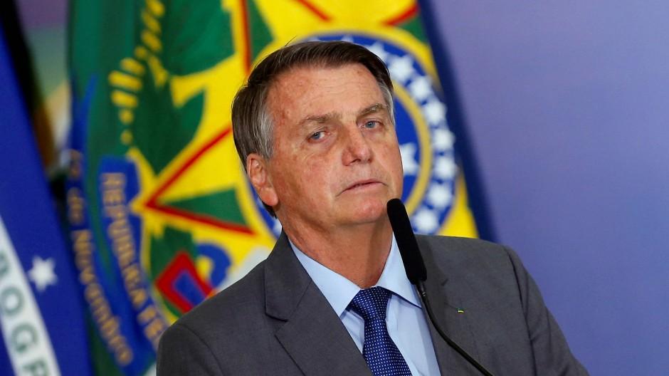 Der brasilianische Präsident Jair Bolsonaro spricht während einer Zeremonie im Planalto Palast in Brasilien. 27.07.2021