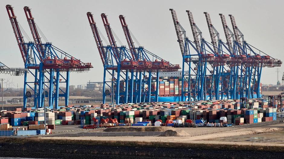 Kräne der Hamburger Hafen und Logistik AG (HHLA) und Container stehen im Hamburger Hafen.